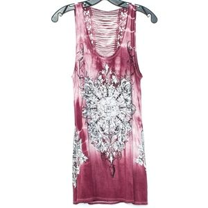 Vocal Tie Dye Embellished Dress Tunic Tank Top